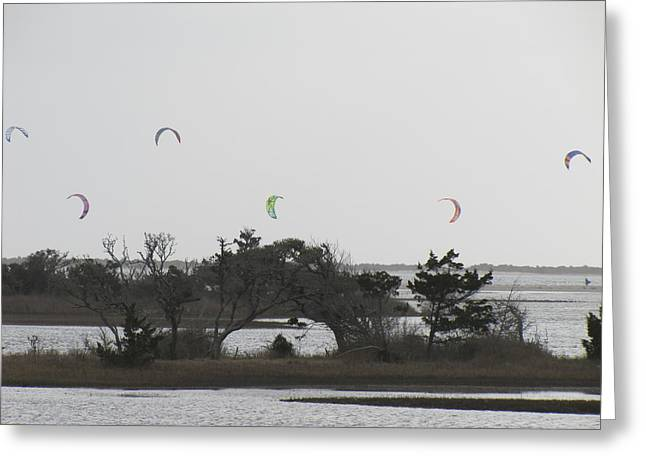 Kite Surfing Greeting Cards - Kite Surfing Over Heart Island Greeting Card by Anne Henderson