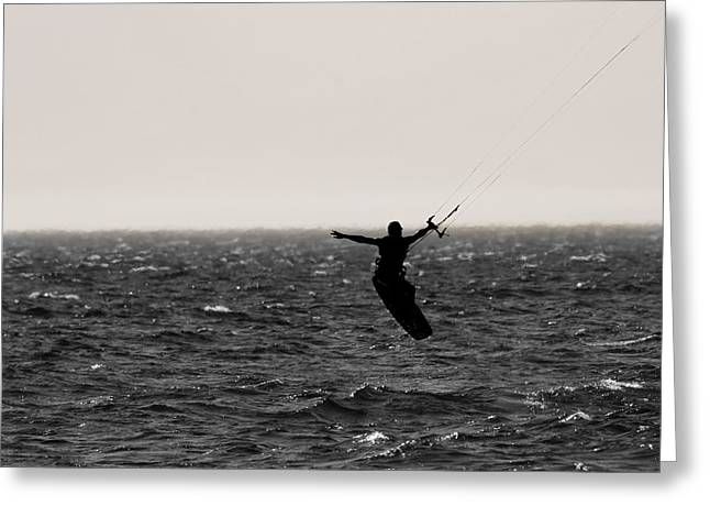 Kite Surfing Pose Greeting Card by Dan Sproul