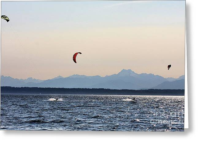 Kite Surfing Greeting Cards - Kite Surfing Greeting Card by Rick Lipscomb