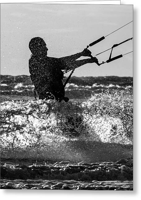 Kite Surfing Greeting Cards - Kite Surfing Greeting Card by Roger Green