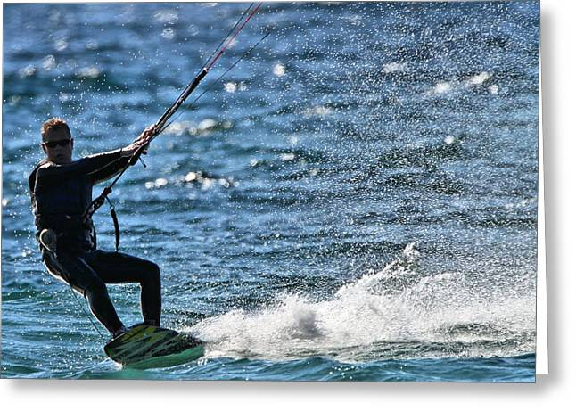 Kite Surfing Splash Greeting Card by Dan Sproul