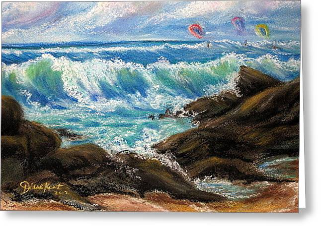 Kite Surfing Pastels Greeting Cards - Kite Surfing Sunday  Greeting Card by Diane Lynn KENT