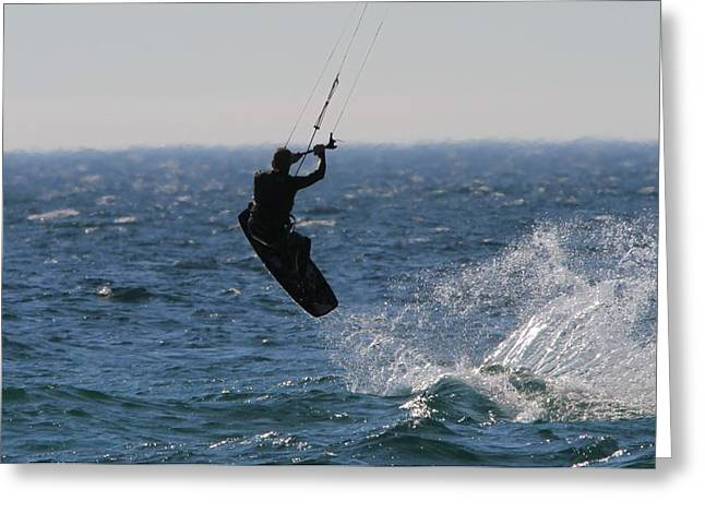 Kite Surfing Wakeboard Greeting Card by Dan Sproul