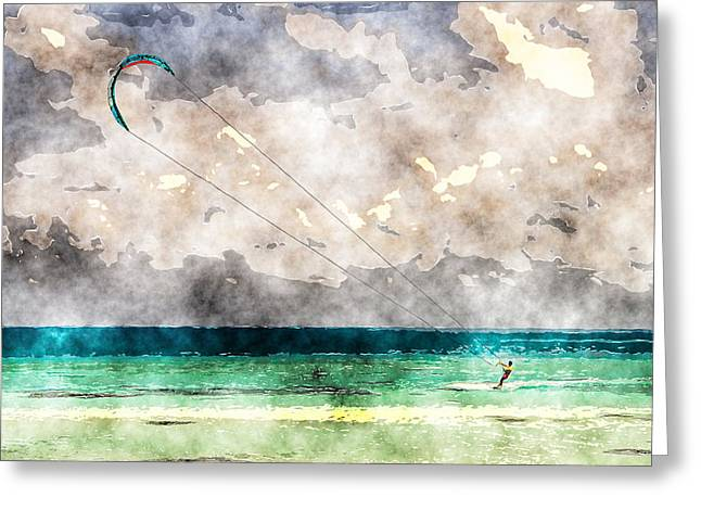 Kite Surfing Greeting Cards - Kite Surfing Watercolor Greeting Card by Cactus Sun Studio
