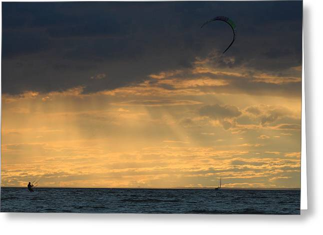 Kite Boarding Greeting Cards - Kite Surfing West Meadow Beach New York Greeting Card by Bob Savage