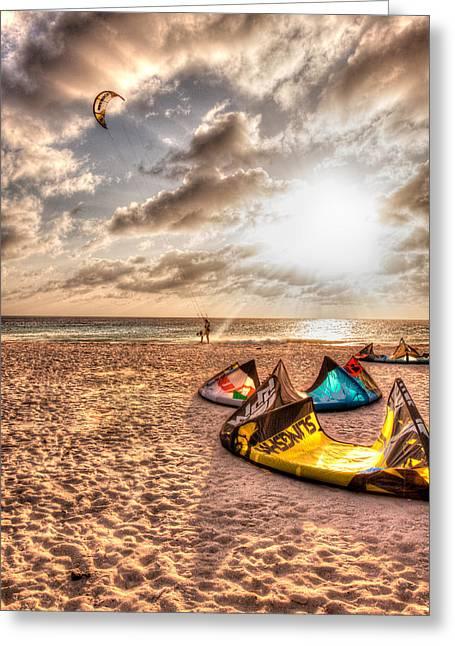 Kiteboarding Greeting Cards - Kitebeach in Bonaire Greeting Card by J Gregory Sherman