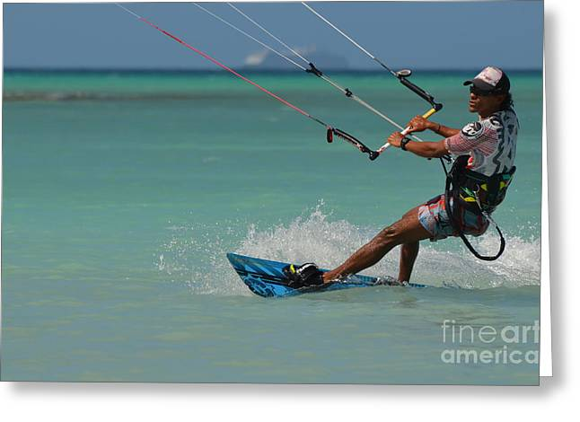 Kite Boarding Greeting Cards - Kiteboarder Carving It Up Greeting Card by DejaVu Designs