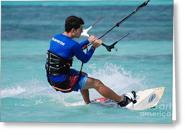 Kite Boarding Greeting Cards - Kiteboarder Greeting Card by DejaVu Designs