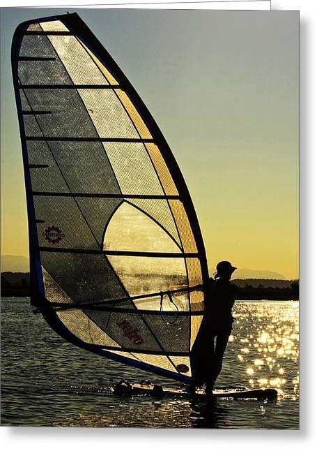 Kiteboard Greeting Cards - Kiteboarder Sunset Greeting Card by Sonya Lang