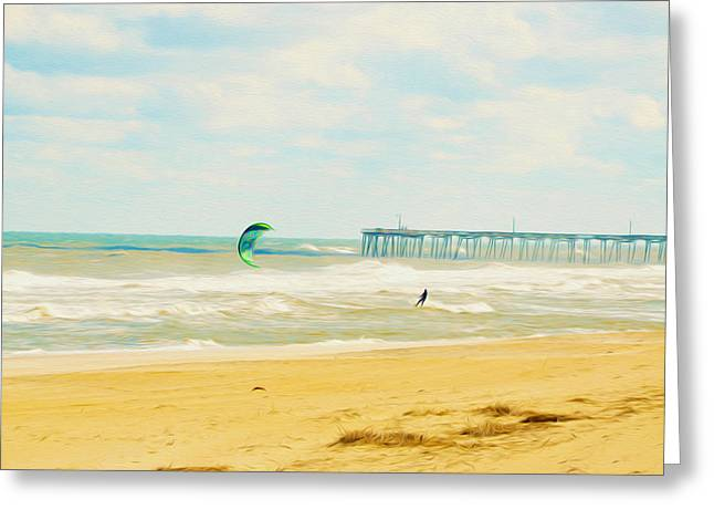 Kite Surfing Paintings Greeting Cards - Kiteboarders 1 Greeting Card by Lanjee Chee