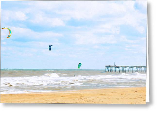 Kite Boarding Greeting Cards - Kiteboarders 2 Greeting Card by Lanjee Chee