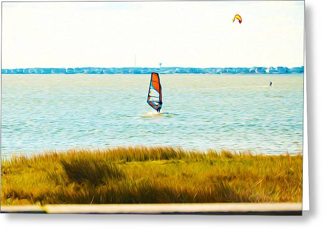 Kite Surfing Paintings Greeting Cards - Kiteboarders 3 Greeting Card by Lanjee Chee
