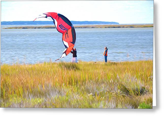 Kite Surfing Paintings Greeting Cards - Kiteboarders 4 Greeting Card by Lanjee Chee