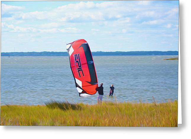 Kite Surfing Paintings Greeting Cards - Kiteboarders 5 Greeting Card by Lanjee Chee