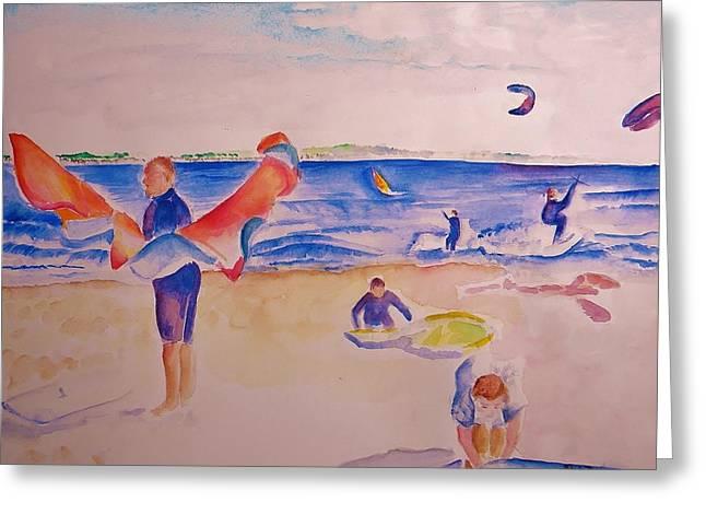 Kite Boarding Greeting Cards - Kiteboarding Greeting Card by Sandy Ryan