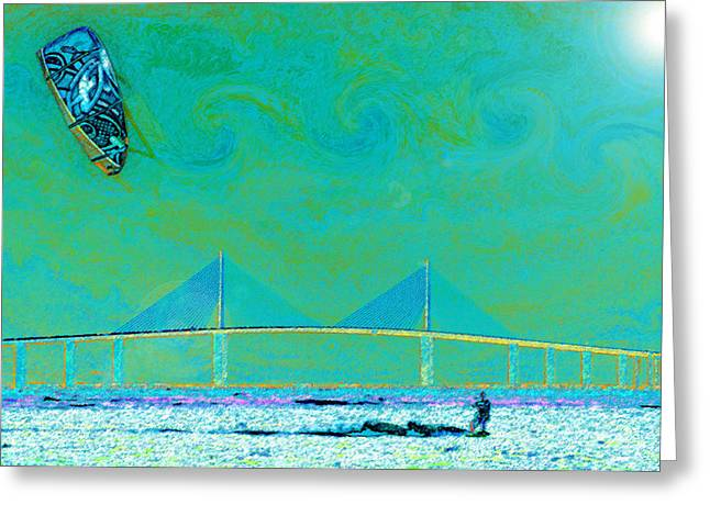 Kiteboarding the Bay Greeting Card by David Lee Thompson