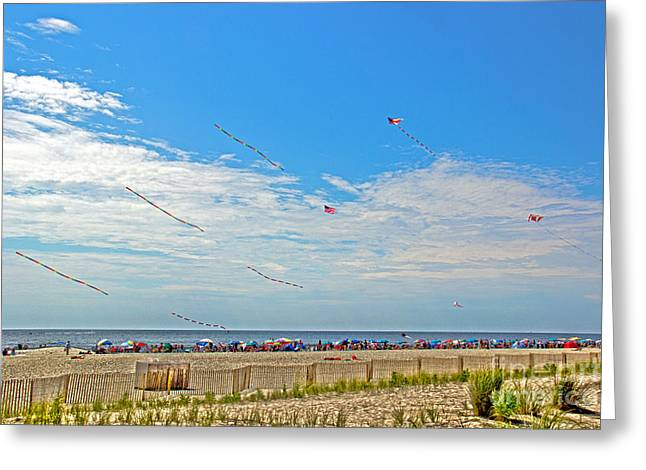 Kite Greeting Cards - Kites Flying Over The Sand Greeting Card by Tom Gari Gallery-Three-Photography