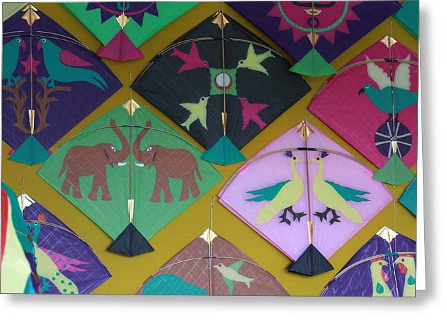 Kites Mixed Media Greeting Cards - Kites Greeting Card by Indrani Ghose