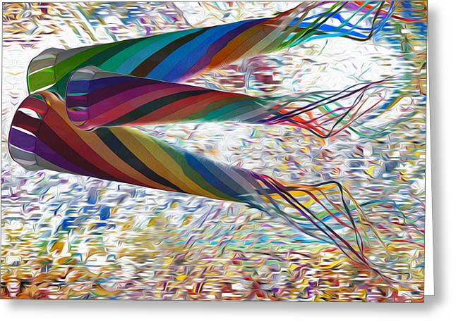 Abstracted Colorful Reality Greeting Cards - Kites Greeting Card by Jack Zulli