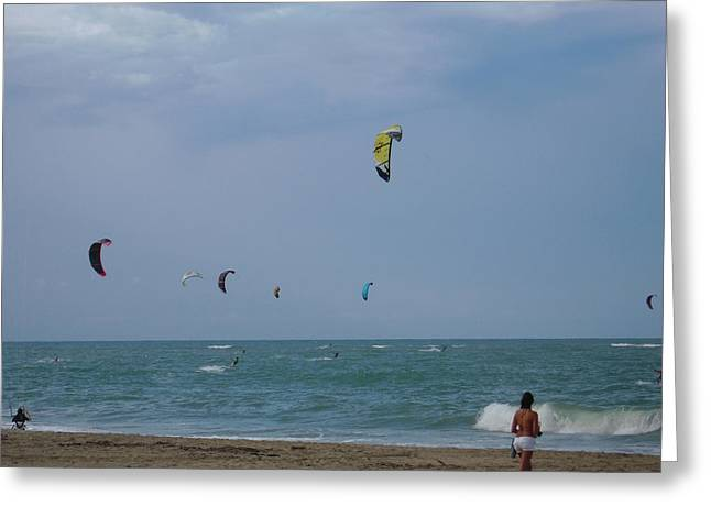 Kite Boarding Greeting Cards - Kites on the ocean Greeting Card by Olga Voronovska