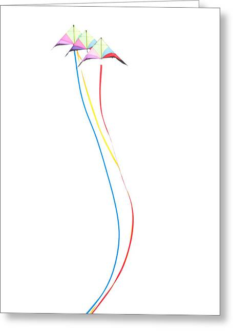 Kites Festival Greeting Cards - Kites on White - 3 Greeting Card by Rob Huntley