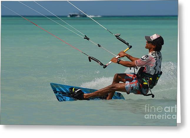 Kite Boarding Greeting Cards - Kitesurf Greeting Card by DejaVu Designs