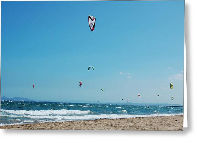 Kite Greeting Cards - Kitesurf Lovers Greeting Card by Gina Dsgn