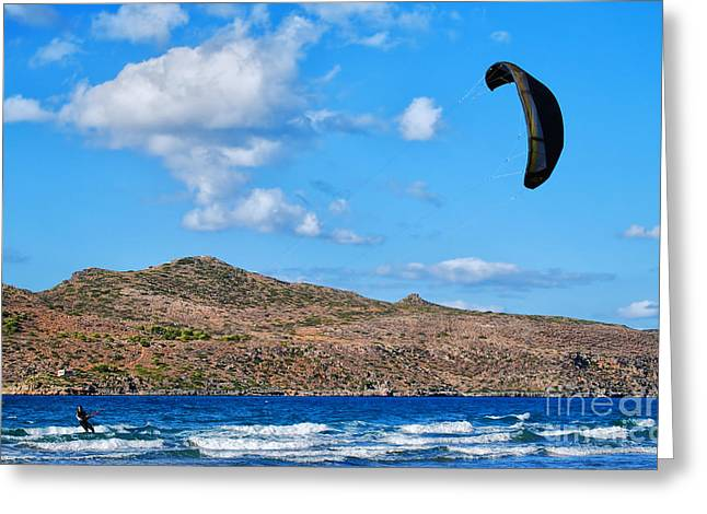 Kite Boarding Greeting Cards - Kitesurfer 02 Greeting Card by Antony McAulay