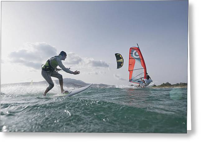 45-49 Years Greeting Cards - Kitesurfer And Windsurfer Greeting Card by Ben Welsh