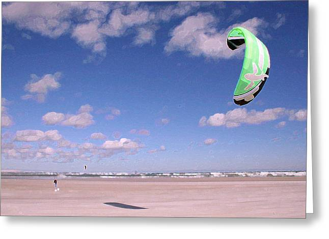 Recently Sold -  - Kite Greeting Cards - Kitesurfer Greeting Card by Bob Richter