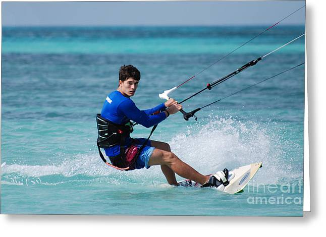 Kite Boarding Greeting Cards - Kitesurfer Carving Up the Ocean Greeting Card by DejaVu Designs