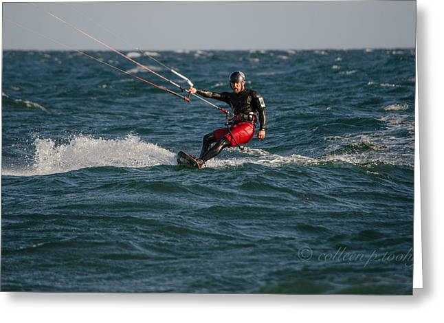 Kite Surfing Greeting Cards - Kitesurfer Greeting Card by Colleen Toohy