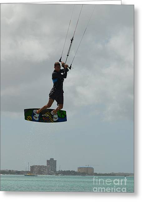 Kite Boarding Greeting Cards - Kitesurfer Flying High Greeting Card by DejaVu Designs