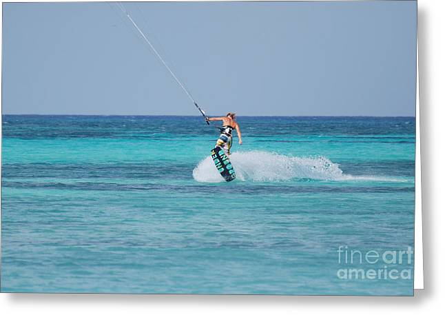 Kite Boarding Greeting Cards - Kitesurfer Getting Some Air Greeting Card by DejaVu Designs