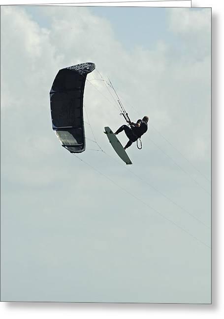Kiteboarding Greeting Cards - Kitesurfer In Mid-air Greeting Card by Ben Welsh