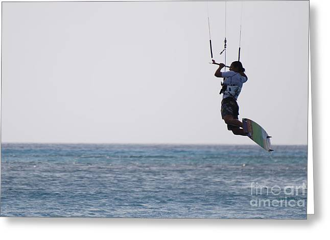 Kite Boarding Greeting Cards - Kitesurfer Jumping Greeting Card by DejaVu Designs