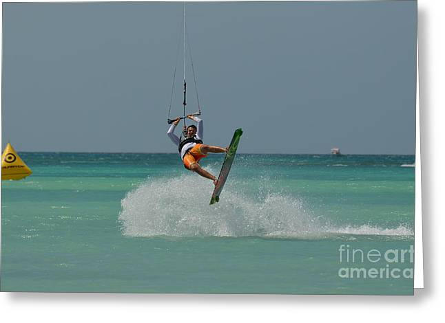 Kite Boarding Greeting Cards - Kitesurfer Making the Turn Greeting Card by DejaVu Designs
