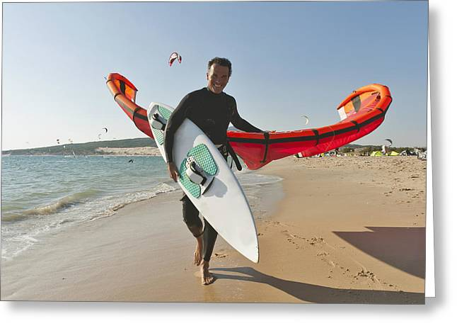 45-49 Years Greeting Cards - Kitesurfer On The Beach Tarifa Cadiz Greeting Card by Ben Welsh