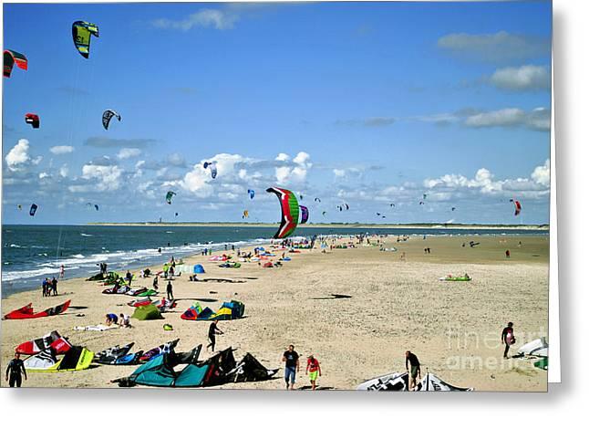 Kitesurfers In The Netherlands Greeting Card by Maja Sokolowska