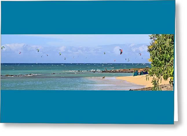 Kiteboarding Greeting Cards - KiteSurfin Kanaha Beach Greeting Card by DJ Florek