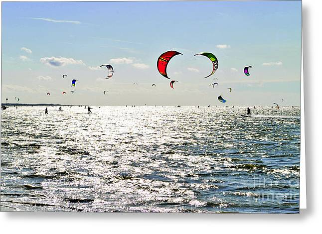 Best Sellers -  - Kiteboarding Greeting Cards - Kitesurfing in the sun Greeting Card by Maja Sokolowska