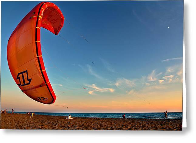 Ocean Art Photos Greeting Cards - Kitesurfing - Kite Greeting Card by Marjan Popovic