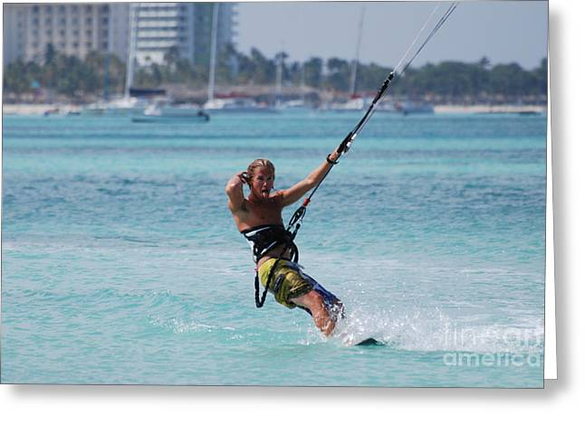 Kite Boarding Greeting Cards - Kitesurfing Show Off Greeting Card by DejaVu Designs