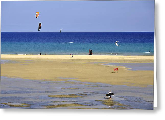 Kiteboarding Greeting Cards - Kitesurfing Spot and Beach View at Melia Gorionez  Greeting Card by Julis Simo