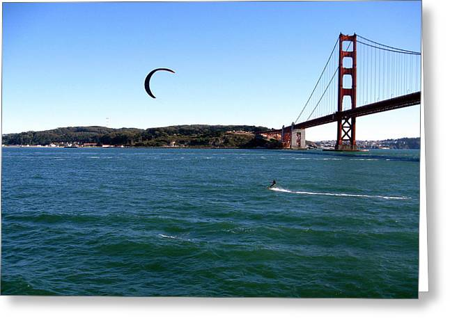 Kite Surfing Greeting Cards - Kitesurfing Under the Bridge Greeting Card by Mike Dallo
