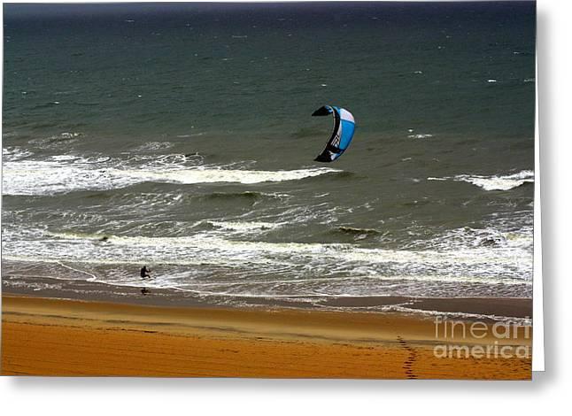 Kiteboarding Greeting Cards - Kitesurfing Virginia Beach Greeting Card by Patti Whitten