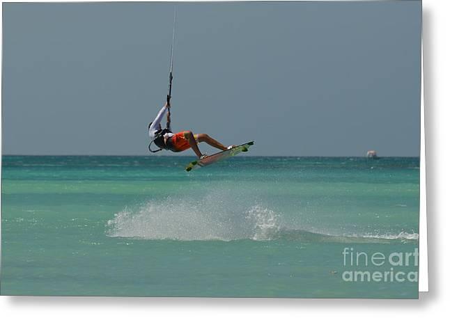 Kite Boarding Greeting Cards - Kitesurfing Wake Greeting Card by DejaVu Designs