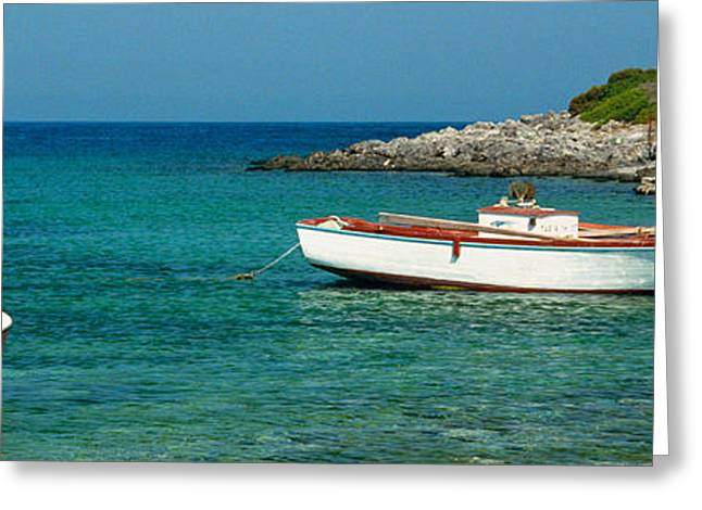 Boats On Water Greeting Cards - Kithera island Greeting Card by George Rossidis
