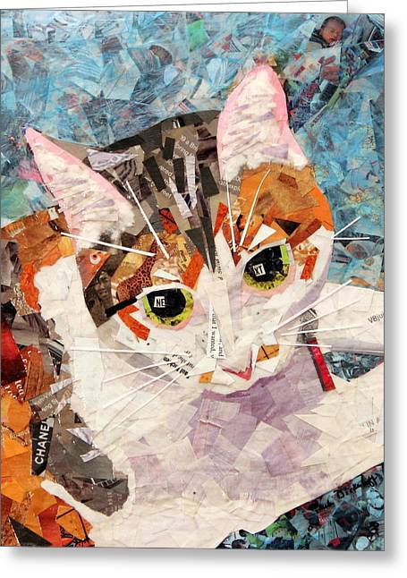 Cat Drawings Greeting Cards - KitKat Greeting Card by Paula Dickerhoff
