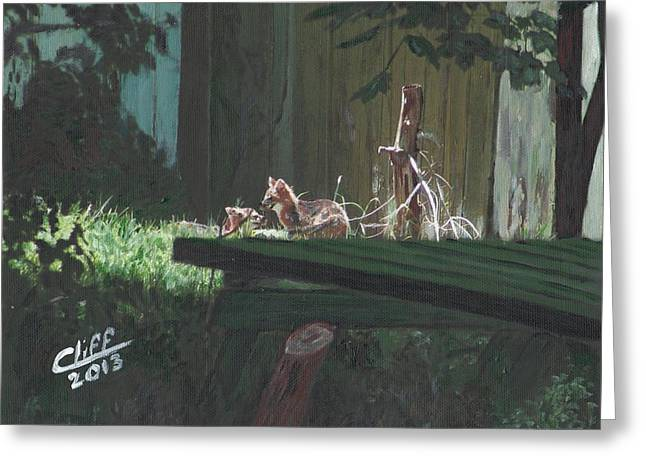 Fox Kit Paintings Greeting Cards - Kits in the Sun Greeting Card by Cliff Wilson